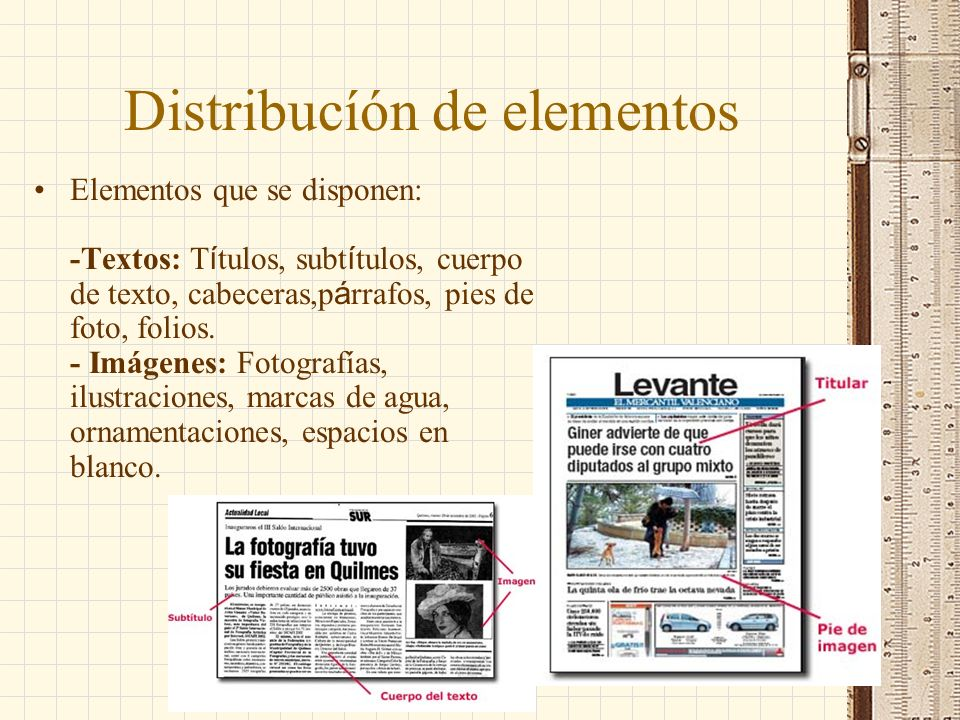 Distribucíón de elementos
