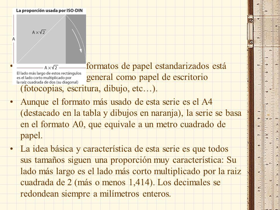 La serie A de los formatos de papel estandarizados está pensada para uso general como papel de escritorio (fotocopias, escritura, dibujo, etc…).