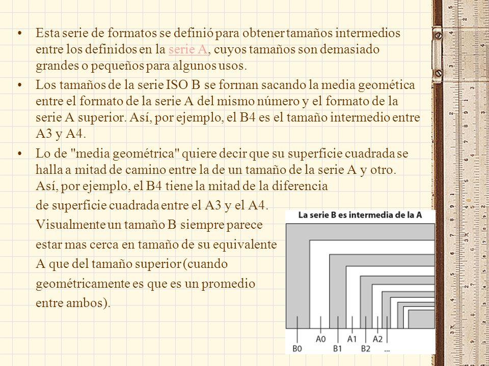 Esta serie de formatos se definió para obtener tamaños intermedios entre los definidos en la serie A, cuyos tamaños son demasiado grandes o pequeños para algunos usos.