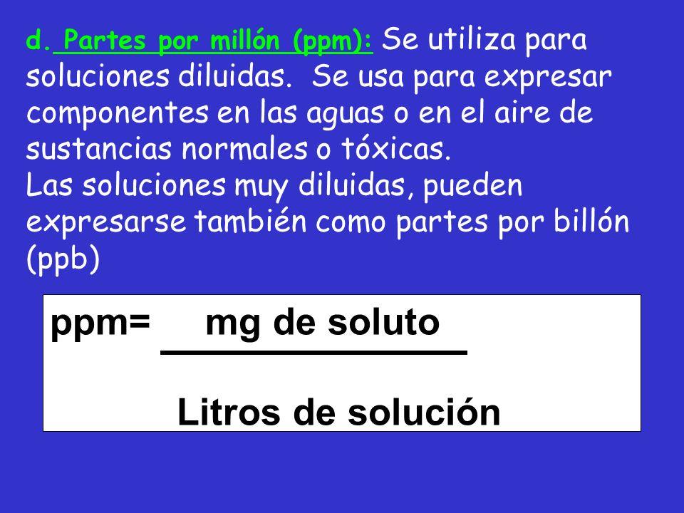 ppm= mg de soluto Litros de solución