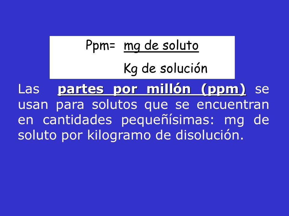 Ppm= mg de soluto Kg de solución.