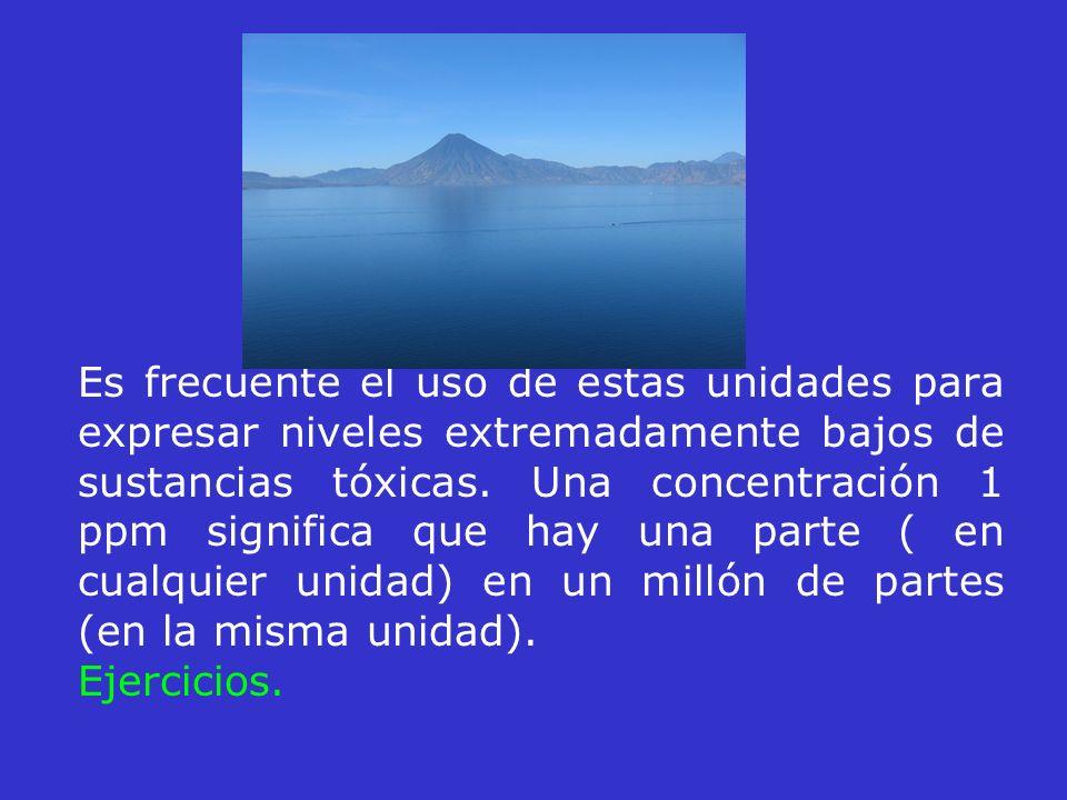 Es frecuente el uso de estas unidades para expresar niveles extremadamente bajos de sustancias tóxicas. Una concentración 1 ppm significa que hay una parte ( en cualquier unidad) en un millón de partes (en la misma unidad).