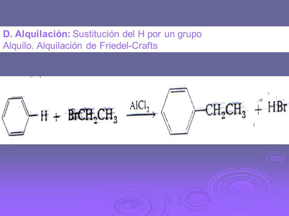 D. Alquilación: Sustitución del H por un grupo