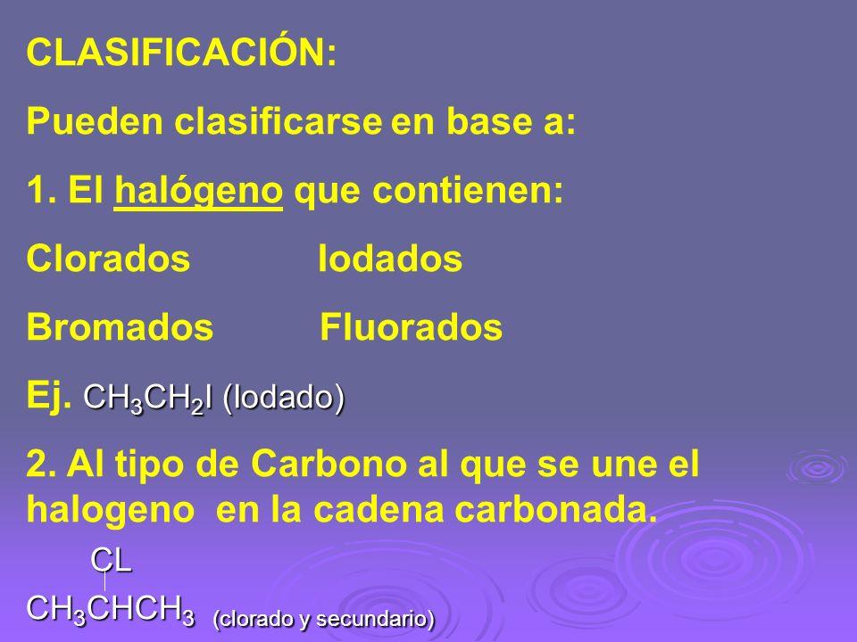 Pueden clasificarse en base a: 1. El halógeno que contienen: