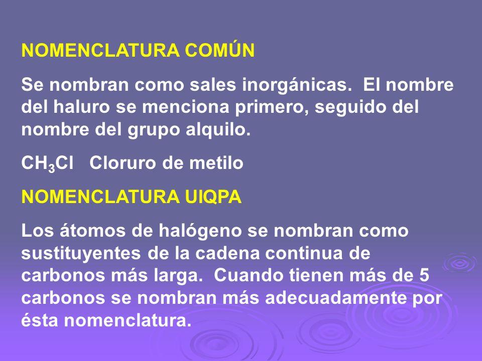 NOMENCLATURA COMÚN Se nombran como sales inorgánicas. El nombre del haluro se menciona primero, seguido del nombre del grupo alquilo.