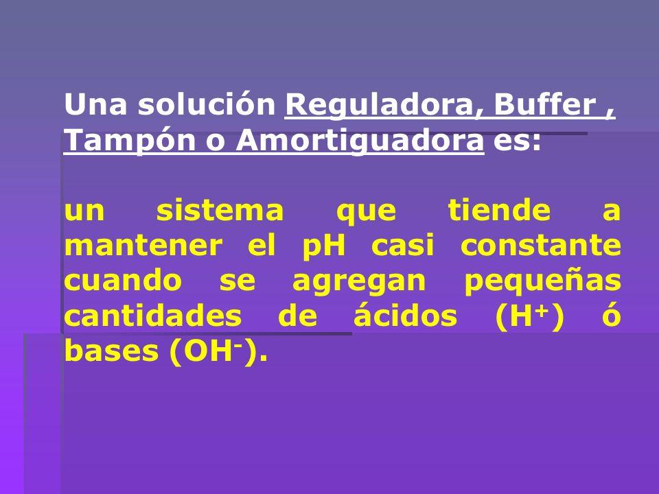 Una solución Reguladora, Buffer , Tampón o Amortiguadora es: