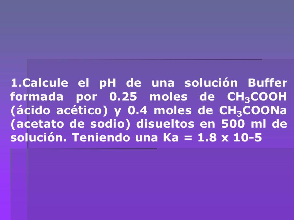 1. Calcule el pH de una solución Buffer formada por 0