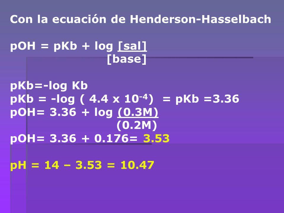 Con la ecuación de Henderson-Hasselbach