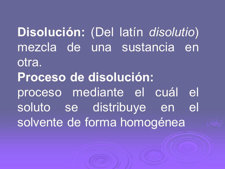 Disolución: (Del latín disolutio) mezcla de una sustancia en otra.