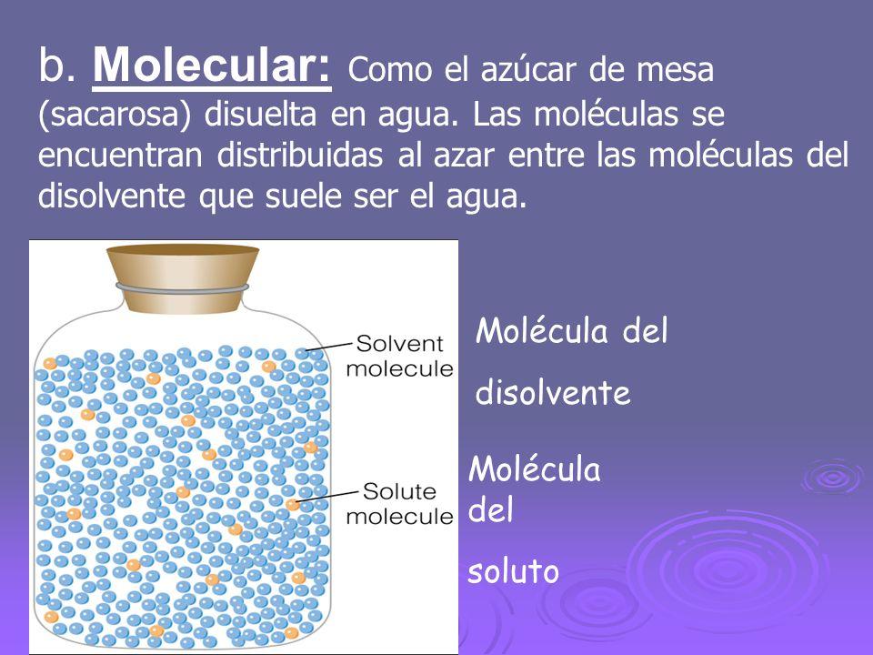 b. Molecular: Como el azúcar de mesa (sacarosa) disuelta en agua