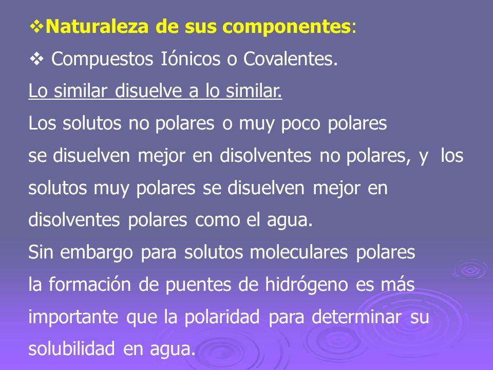Naturaleza de sus componentes:
