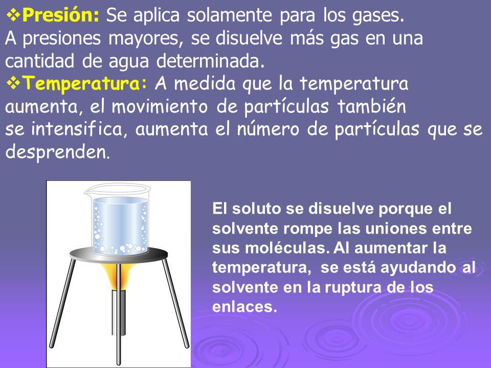 Presión: Se aplica solamente para los gases.