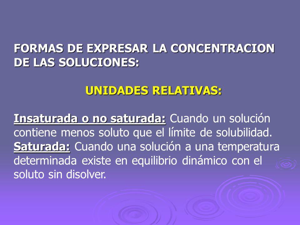 FORMAS DE EXPRESAR LA CONCENTRACION DE LAS SOLUCIONES: