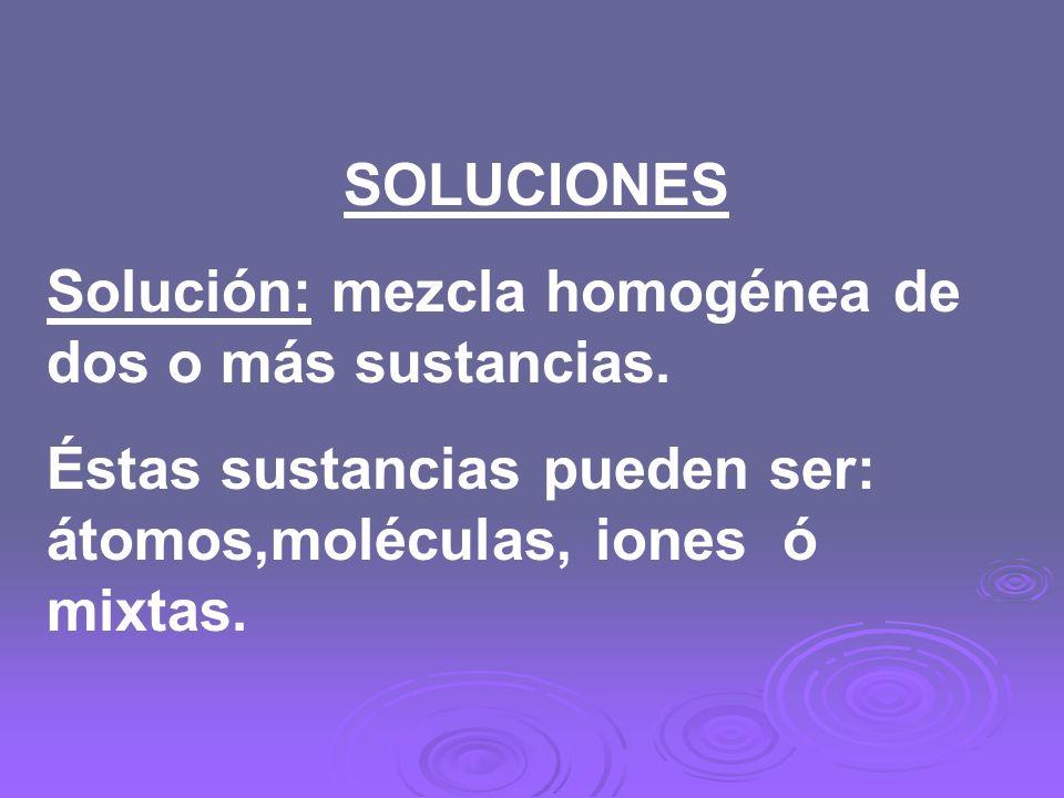 SOLUCIONES Solución: mezcla homogénea de dos o más sustancias.