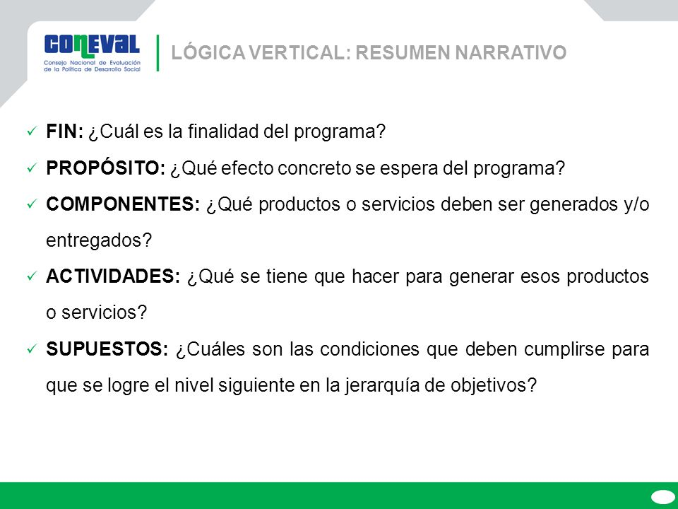 LÓGICA VERTICAL: RESUMEN NARRATIVO