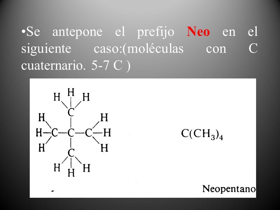 Se antepone el prefijo Neo en el siguiente caso:(moléculas con C cuaternario. 5-7 C )