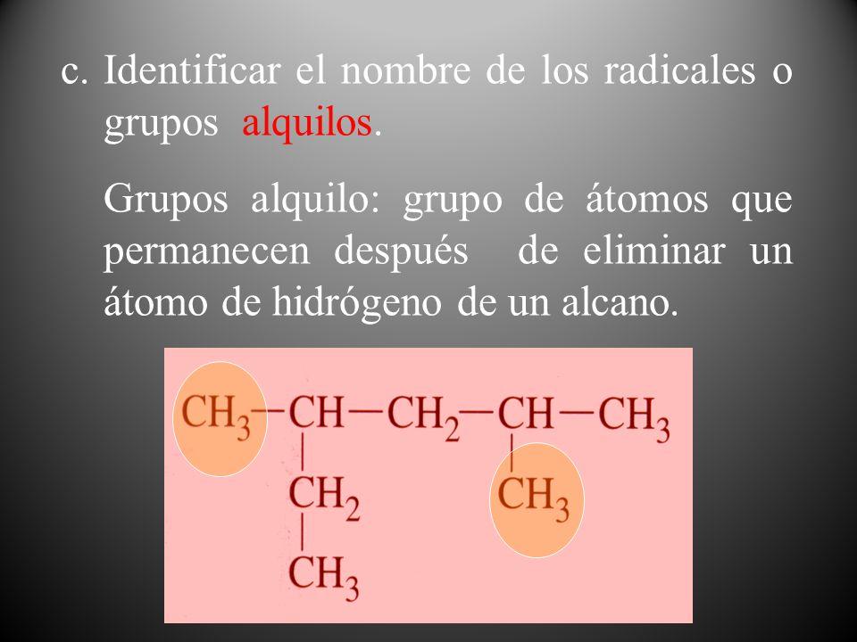 Identificar el nombre de los radicales o grupos alquilos.