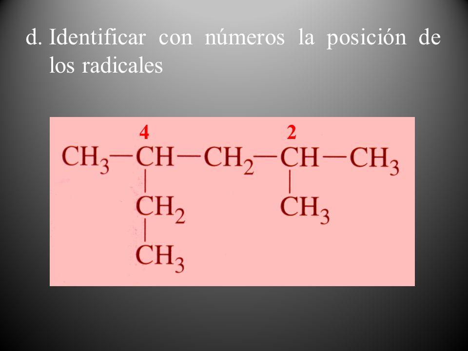 Identificar con números la posición de los radicales