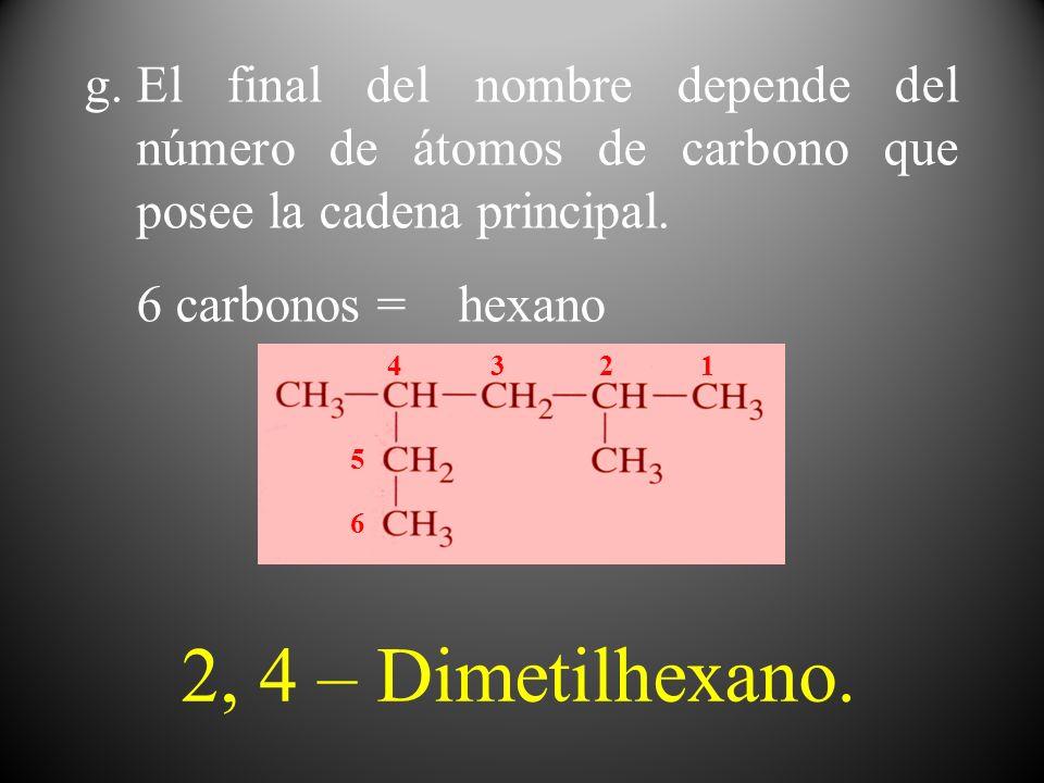 El final del nombre depende del número de átomos de carbono que posee la cadena principal.