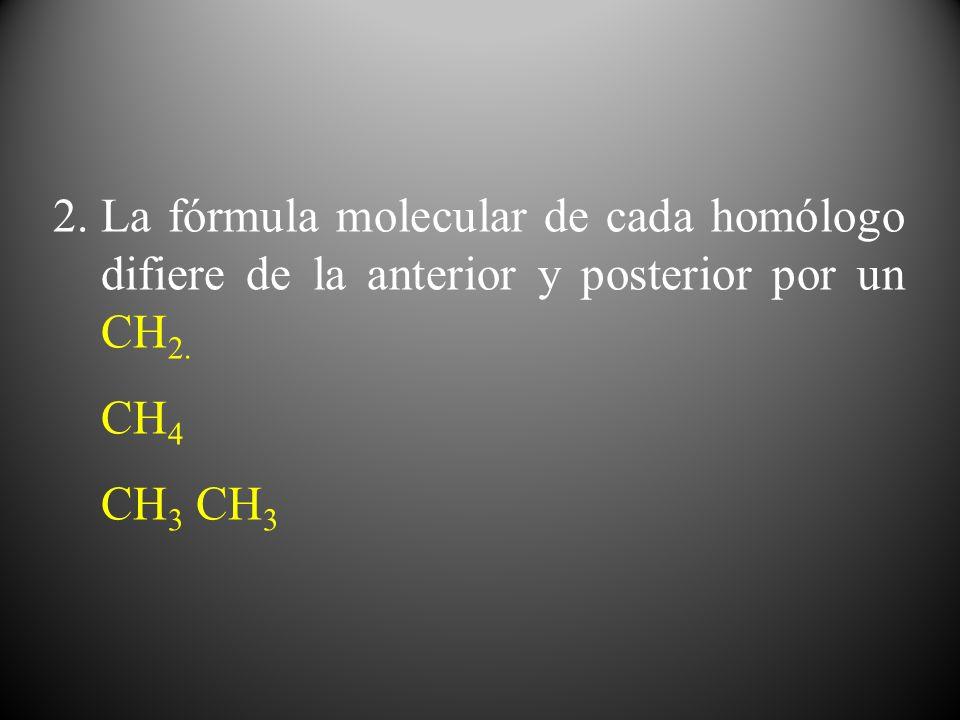 La fórmula molecular de cada homólogo difiere de la anterior y posterior por un CH2.