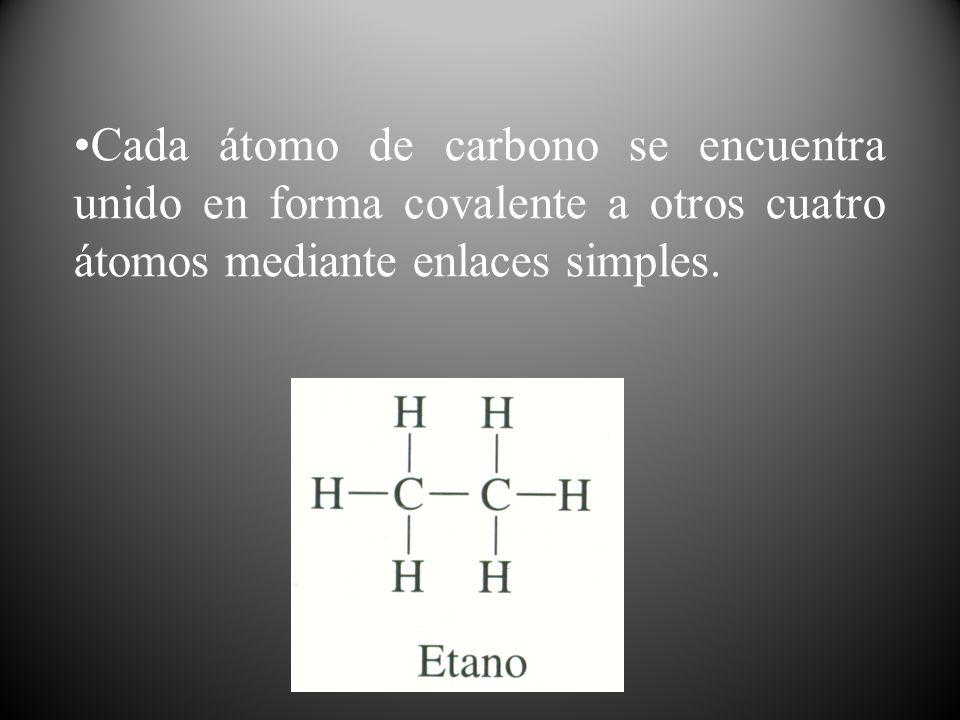 Cada átomo de carbono se encuentra unido en forma covalente a otros cuatro átomos mediante enlaces simples.