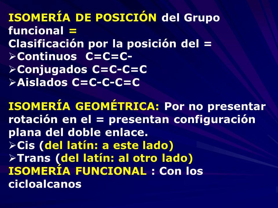 ISOMERÍA DE POSICIÓN del Grupo funcional =