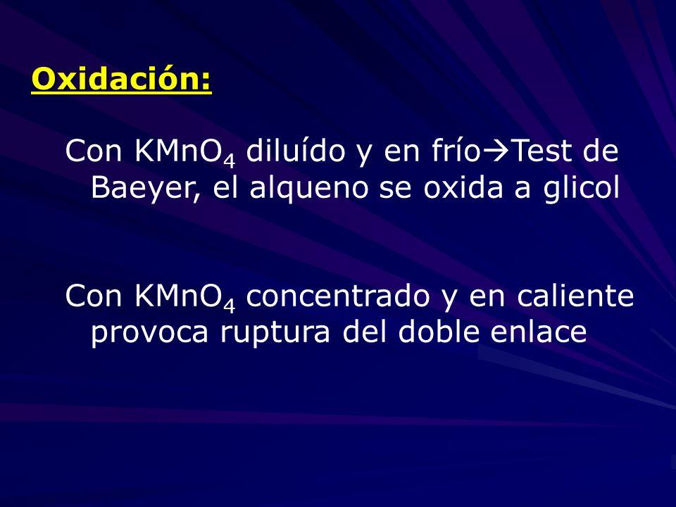 Oxidación: Con KMnO4 diluído y en fríoTest de Baeyer, el alqueno se oxida a glicol.