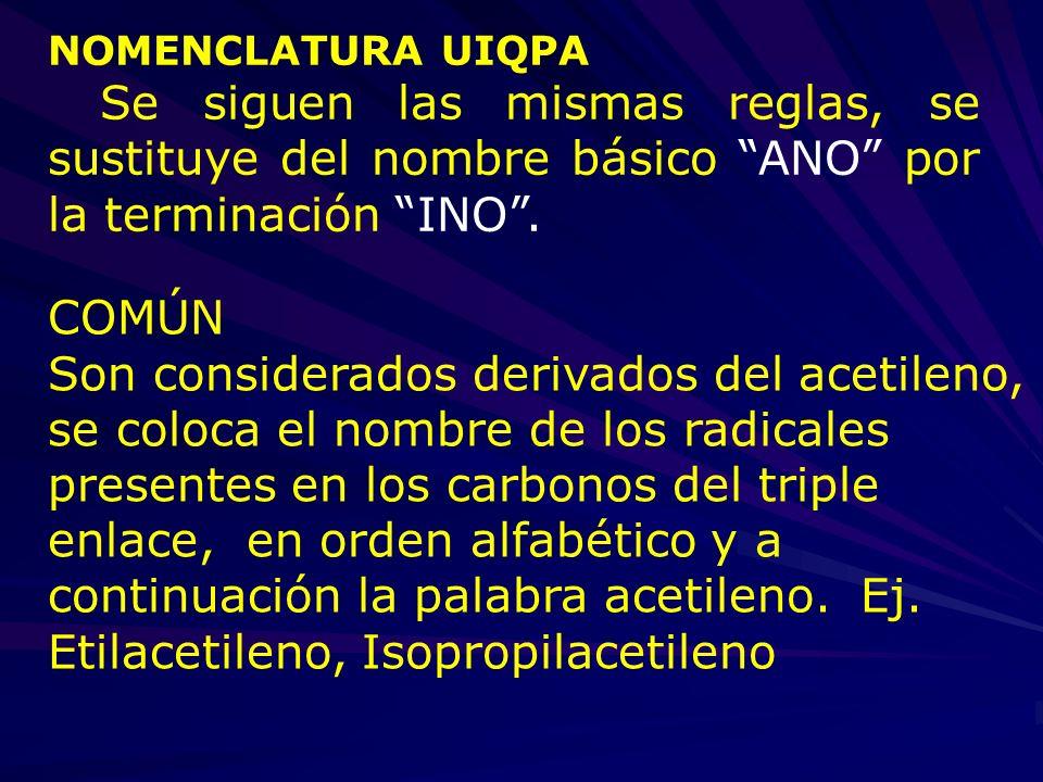 NOMENCLATURA UIQPA Se siguen las mismas reglas, se sustituye del nombre básico ANO por la terminación INO .
