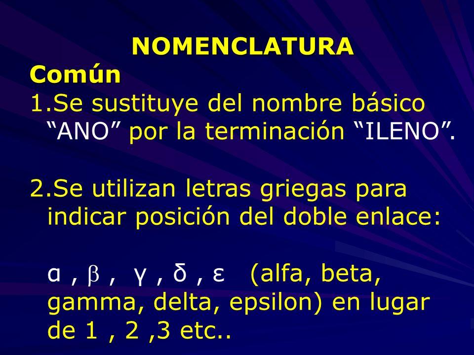 NOMENCLATURA Común. Se sustituye del nombre básico ANO por la terminación ILENO .