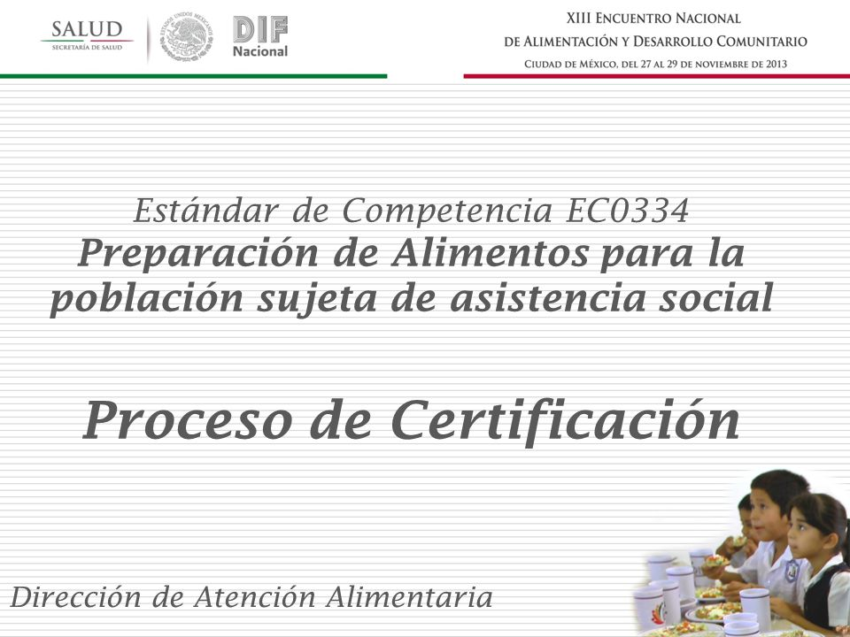 Estándar de Competencia EC0334 Preparación de Alimentos para la población sujeta de asistencia social Proceso de Certificación