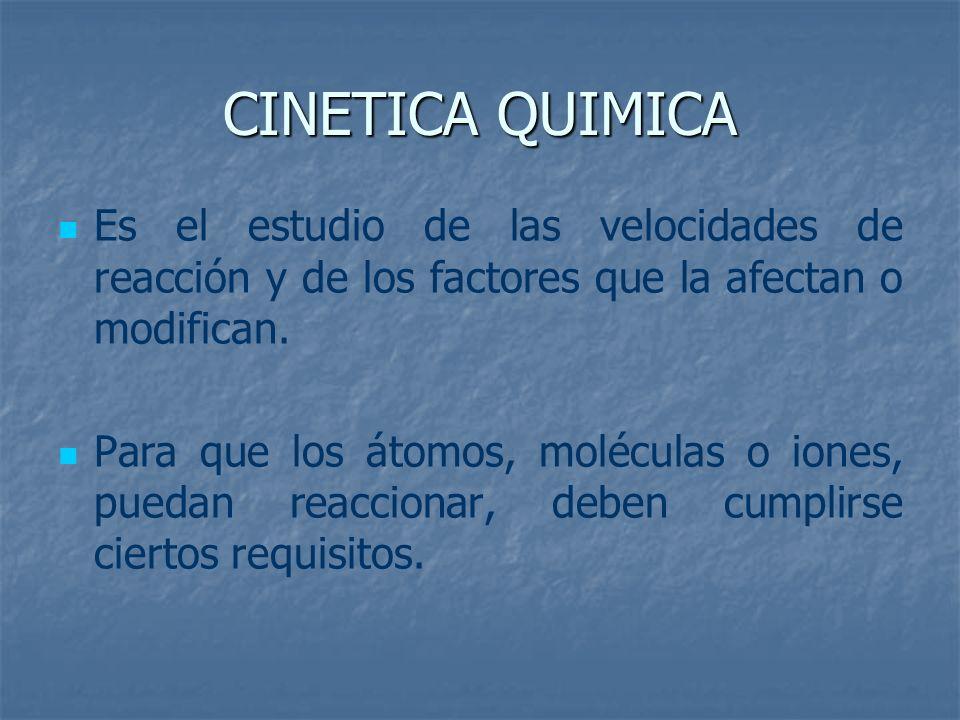 CINETICA QUIMICA Es el estudio de las velocidades de reacción y de los factores que la afectan o modifican.