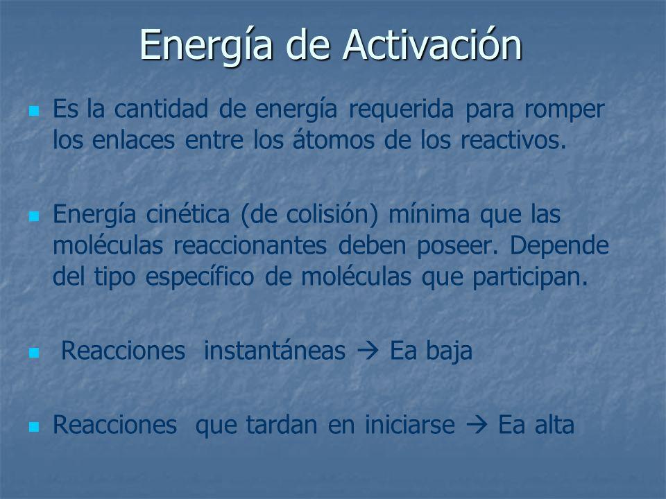 Energía de Activación Es la cantidad de energía requerida para romper los enlaces entre los átomos de los reactivos.