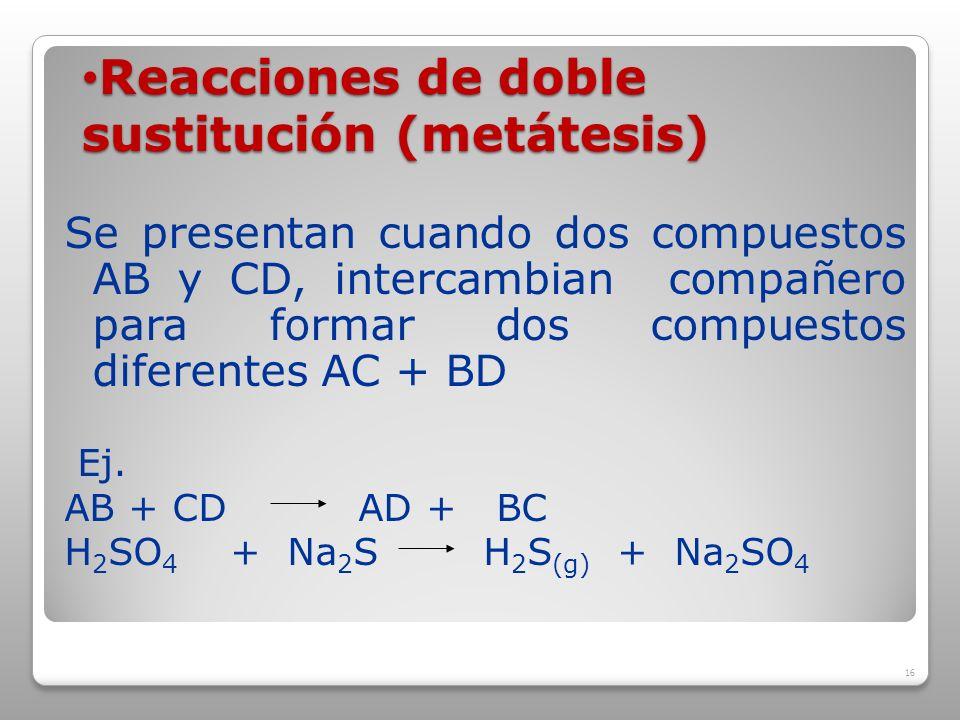 Reacciones de doble sustitución (metátesis)
