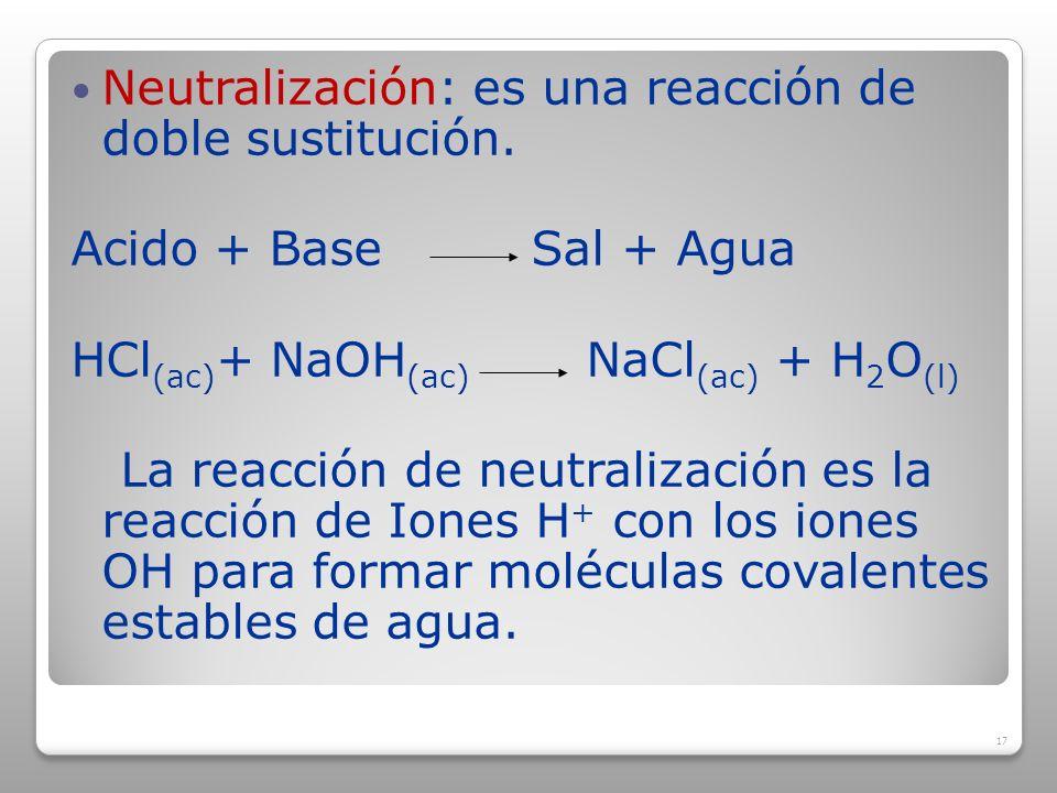 Neutralización: es una reacción de doble sustitución.
