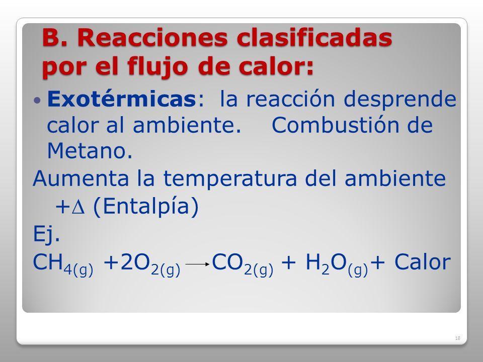 B. Reacciones clasificadas por el flujo de calor: