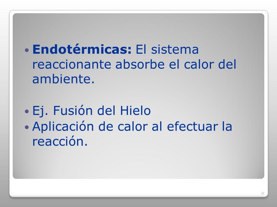 Endotérmicas: El sistema reaccionante absorbe el calor del ambiente.