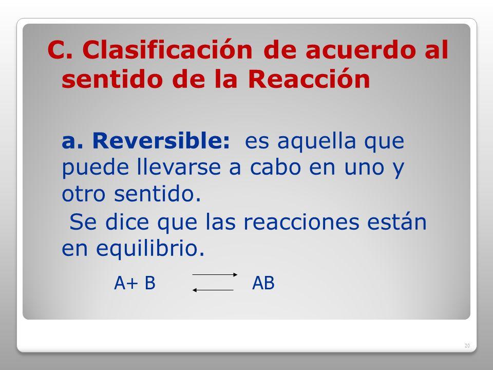 C. Clasificación de acuerdo al sentido de la Reacción