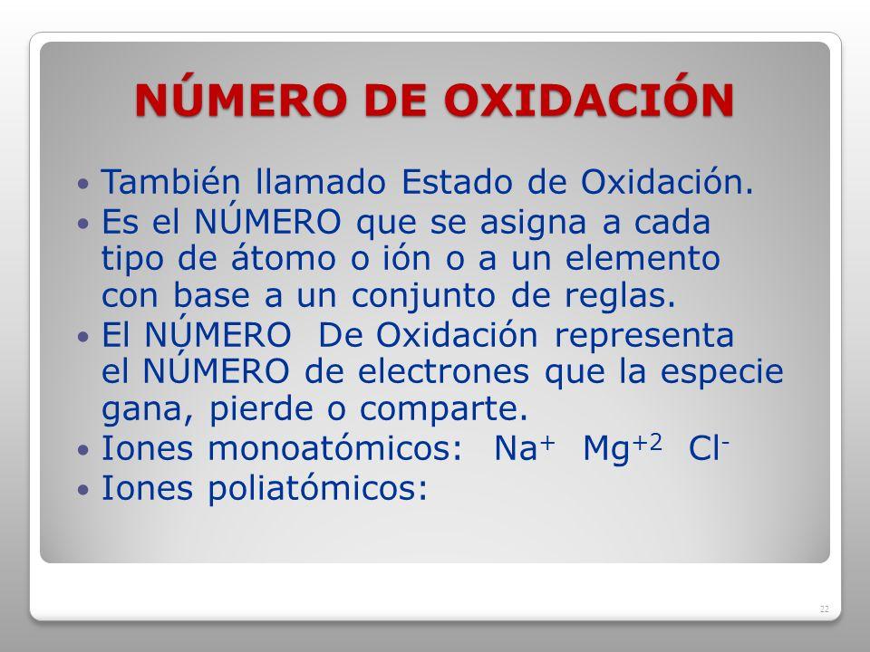 NÚMERO DE OXIDACIÓN También llamado Estado de Oxidación.