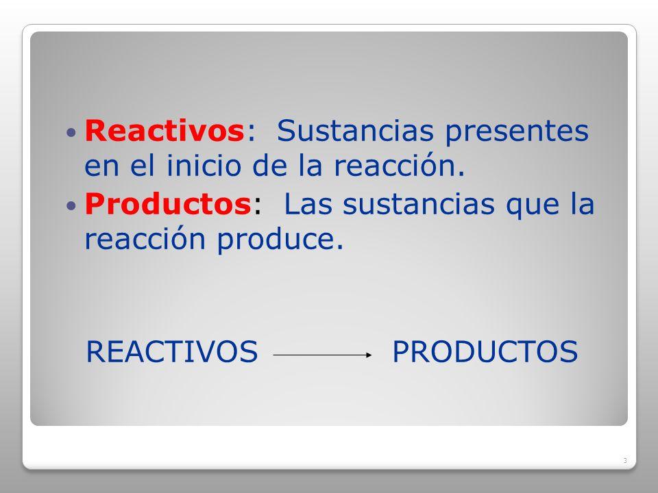 Reactivos: Sustancias presentes en el inicio de la reacción.