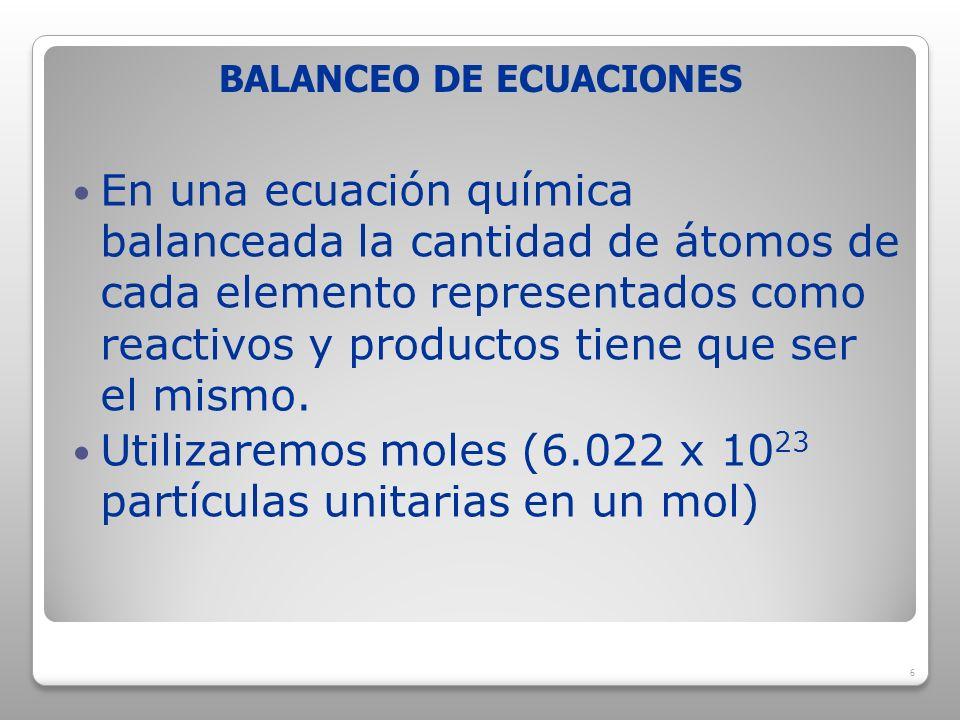 BALANCEO DE ECUACIONES