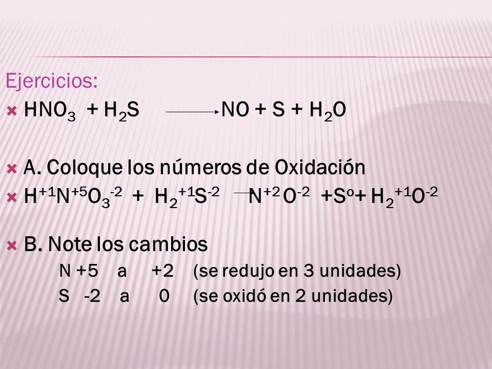 A. Coloque los números de Oxidación