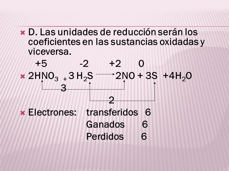 D. Las unidades de reducción serán los coeficientes en las sustancias oxidadas y viceversa.