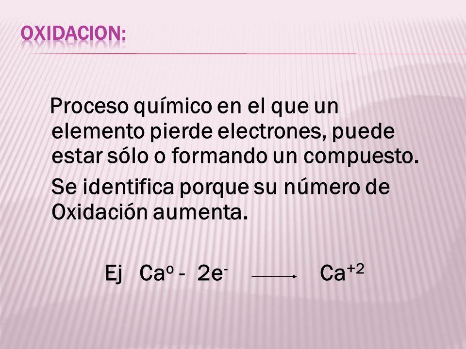 Se identifica porque su número de Oxidación aumenta.