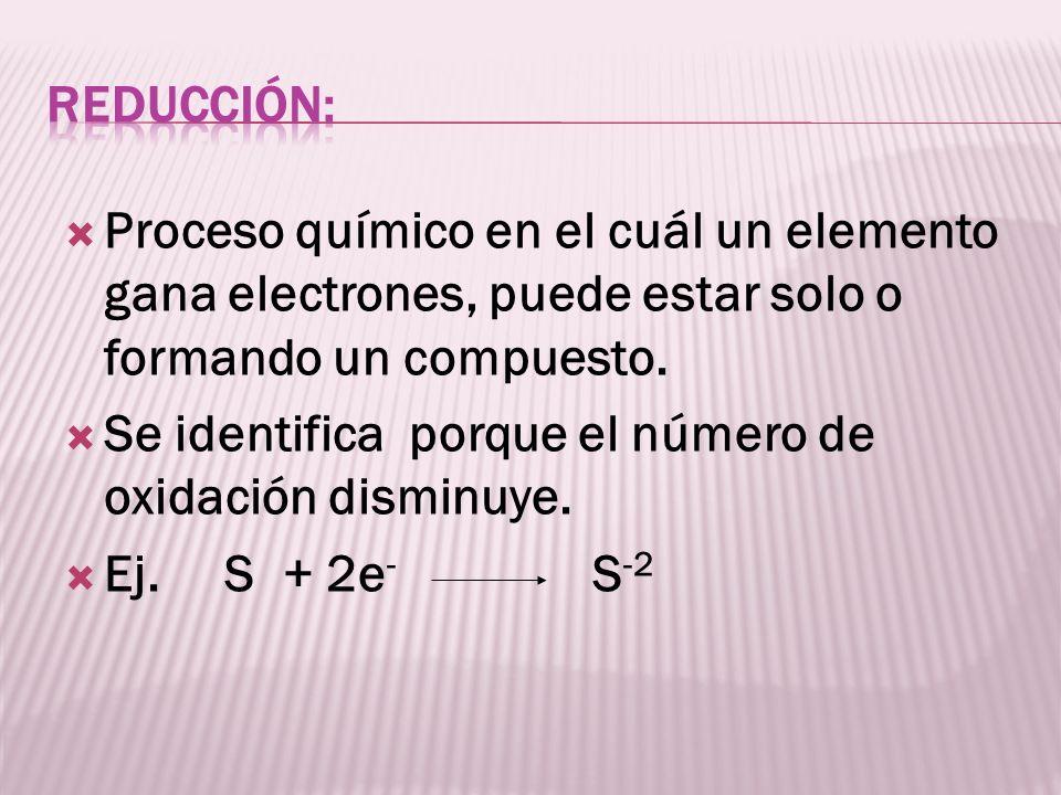 Reducción:Proceso químico en el cuál un elemento gana electrones, puede estar solo o formando un compuesto.