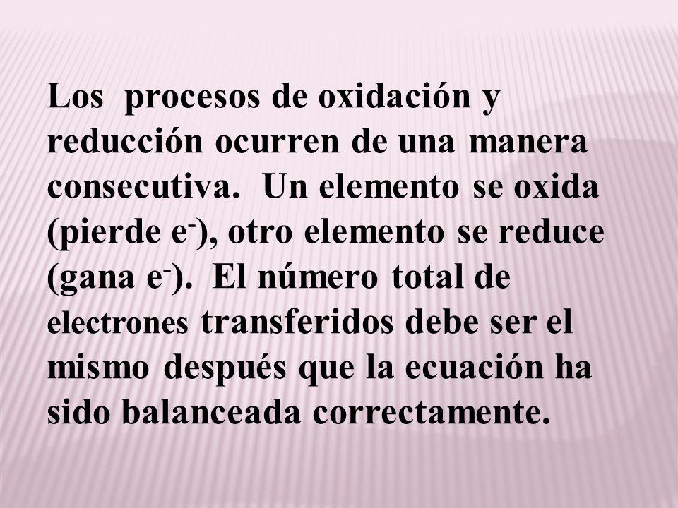 Los procesos de oxidación y reducción ocurren de una manera consecutiva.