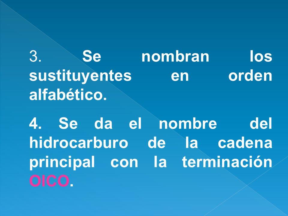 3. Se nombran los sustituyentes en orden alfabético.