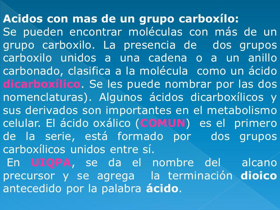 Acidos con mas de un grupo carboxílo: