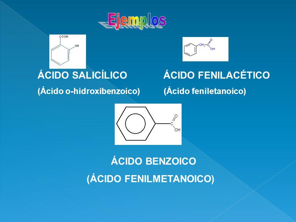 Ejemplos ÁCIDO SALICÍLICO ÁCIDO FENILACÉTICO ÁCIDO BENZOICO