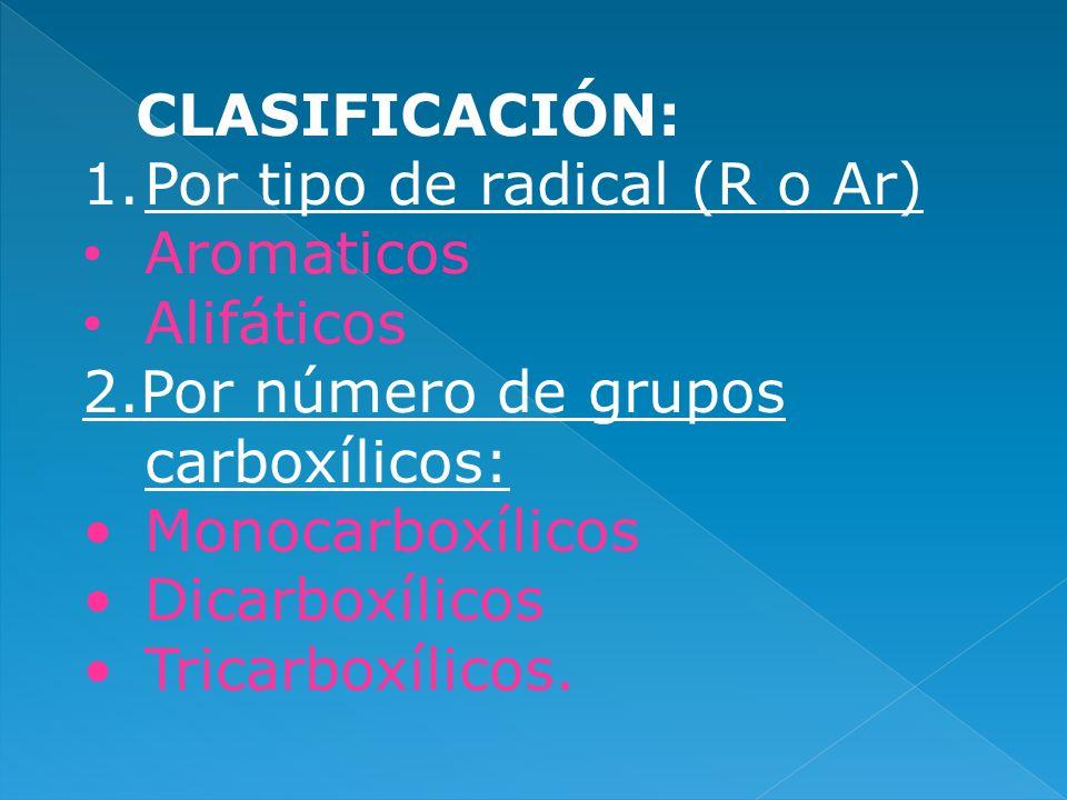CLASIFICACIÓN:Por tipo de radical (R o Ar) Aromaticos. Alifáticos. 2.Por número de grupos carboxílicos:
