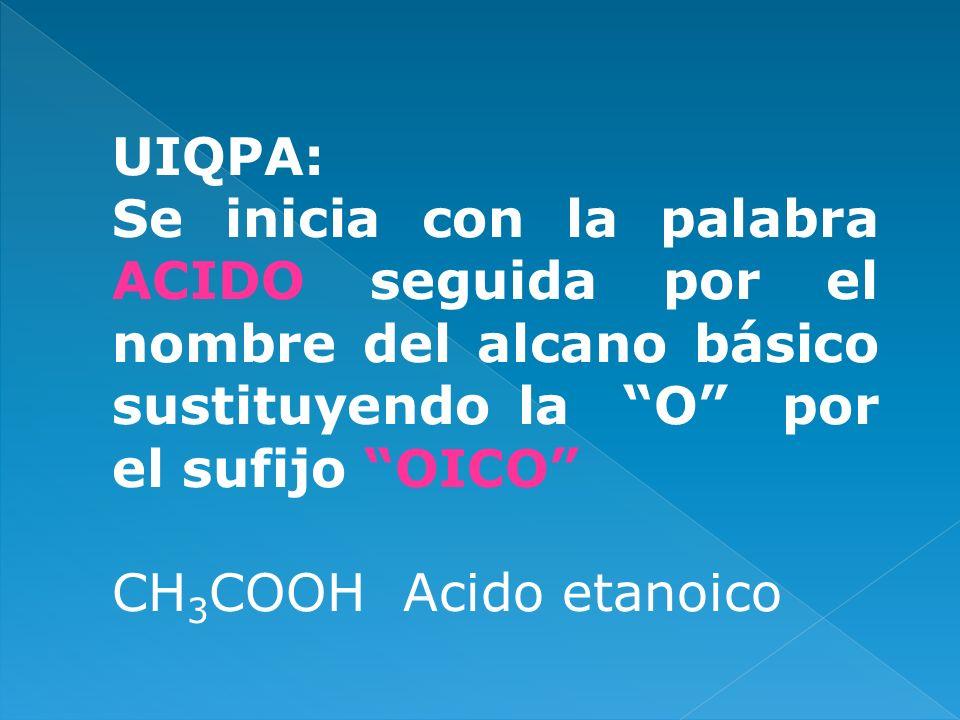 UIQPA:Se inicia con la palabra ACIDO seguida por el nombre del alcano básico sustituyendo la O por el sufijo OICO